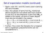 set of expectation models continued
