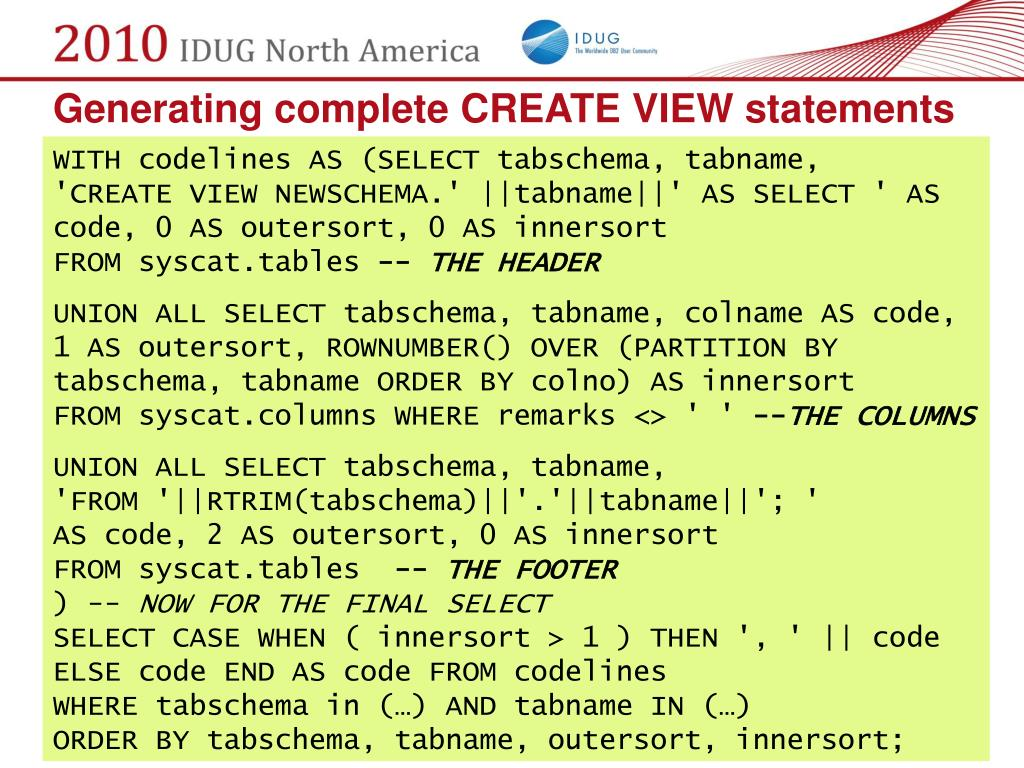 Generating complete CREATE VIEW statements
