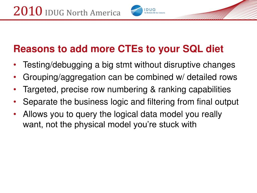 Reasons to add more CTEs to your SQL diet