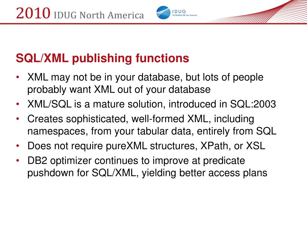 SQL/XML publishing functions