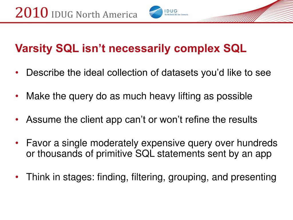 Varsity SQL isn't necessarily complex SQL