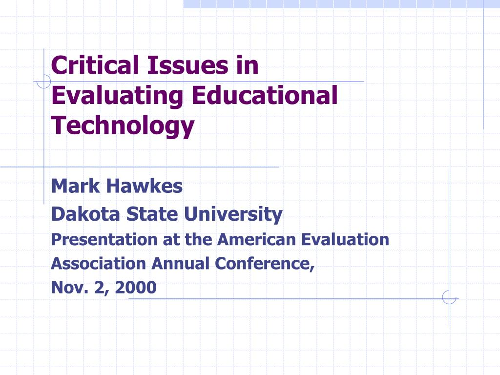 critical issues in evaluating educational technology l.
