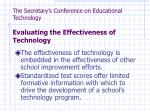 the secretary s conference on educational technology evaluating the effectiveness of technology