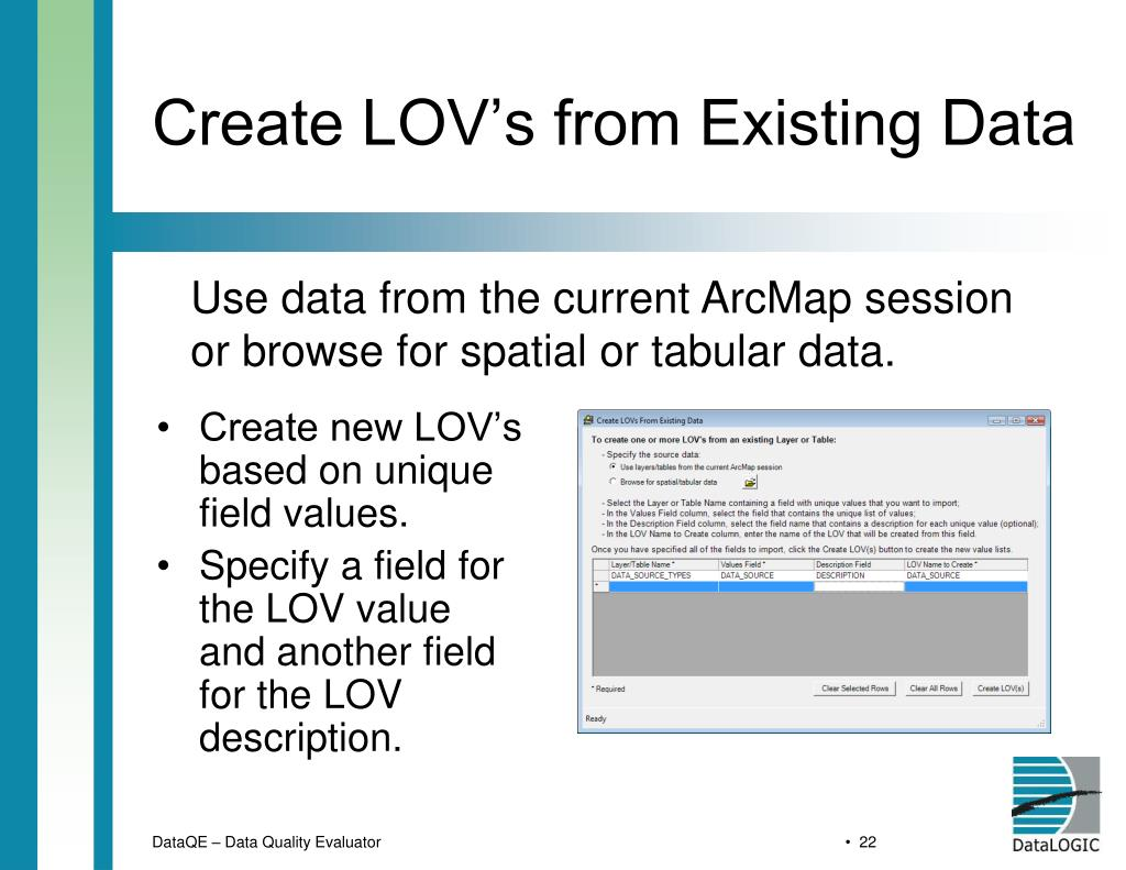 Create LOV's from Existing Data
