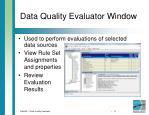 data quality evaluator window