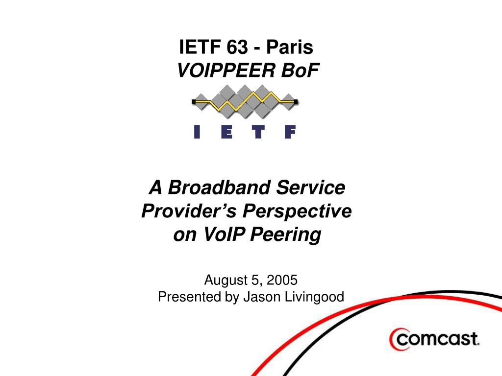 ietf 63 paris voippeer bof a broadband service provider s perspective on voip peering l.