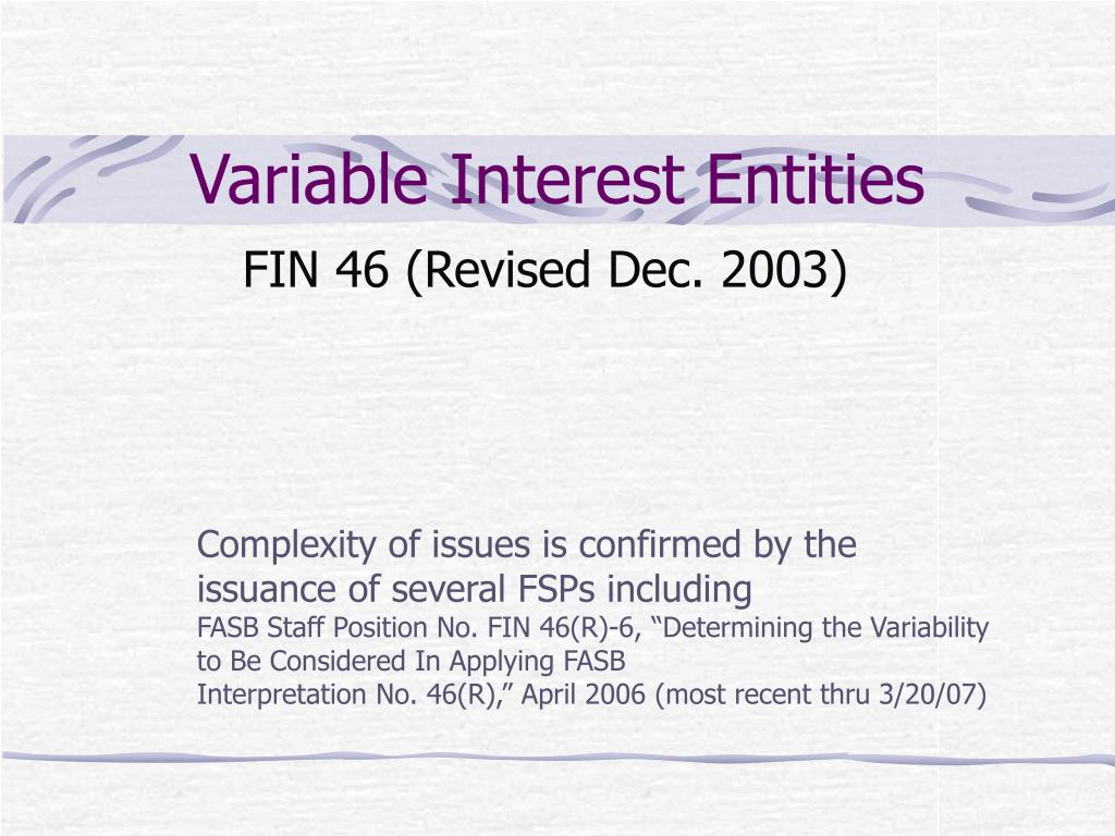 variable interest entities l.