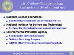 21st century nanotechnology research and development act
