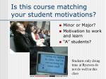 is this course matching your student motivations