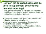 how can the balanced scorecard be used to supplement conventional financial reporting