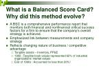 what is a balanced score card why did this method evolve