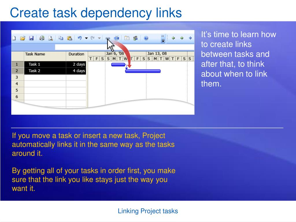 create task dependency links l.