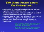 ebm meets patient safety the problems are