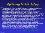 optimizing patient safety