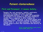patient centeredness