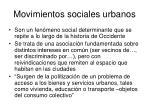 movimientos sociales urbanos