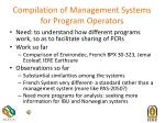 compilation of management systems for program operators