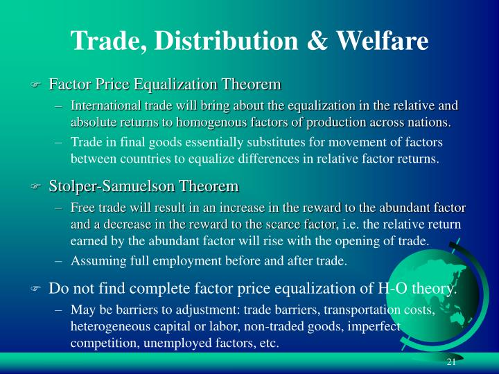 Trade, Distribution & Welfare