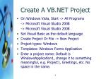 create a vb net project