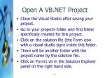 open a vb net project