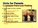 hints for parents consejos para los padres