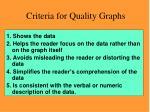 criteria for quality graphs