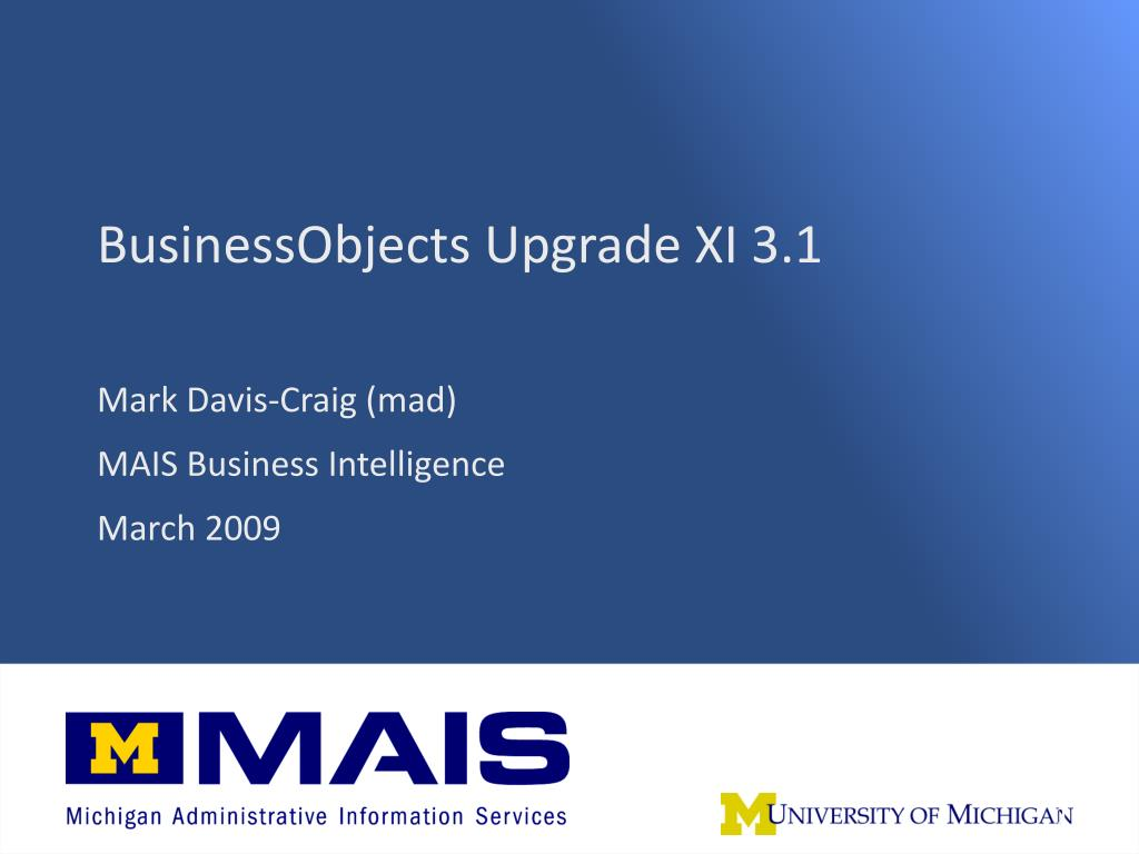 businessobjects upgrade xi 3 1 l.