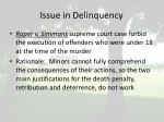 issue in delinquency
