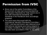 permission from ivsc