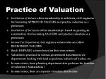 practice of valuation