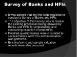 survey of banks and hfis