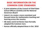 basic information on the common core standards