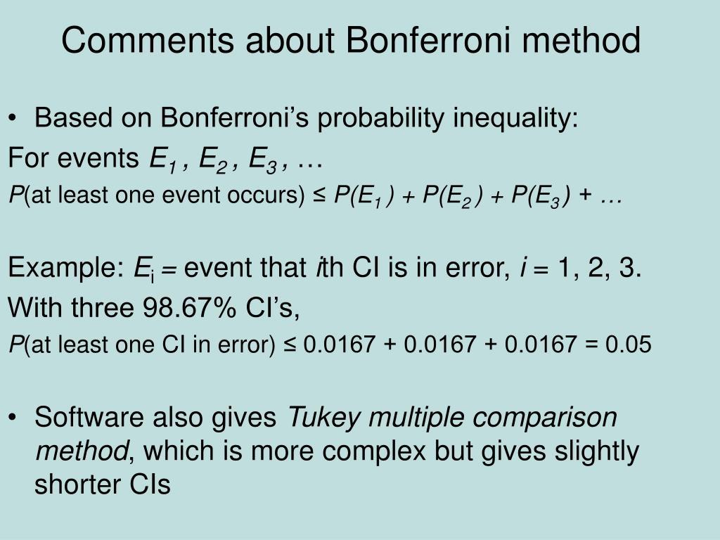 Comments about Bonferroni method