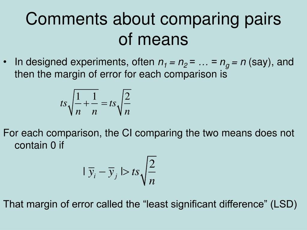 Comments about comparing pairs of means