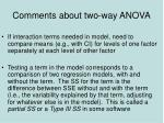 comments about two way anova
