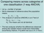 comparing means across categories of one classification 1 way anova