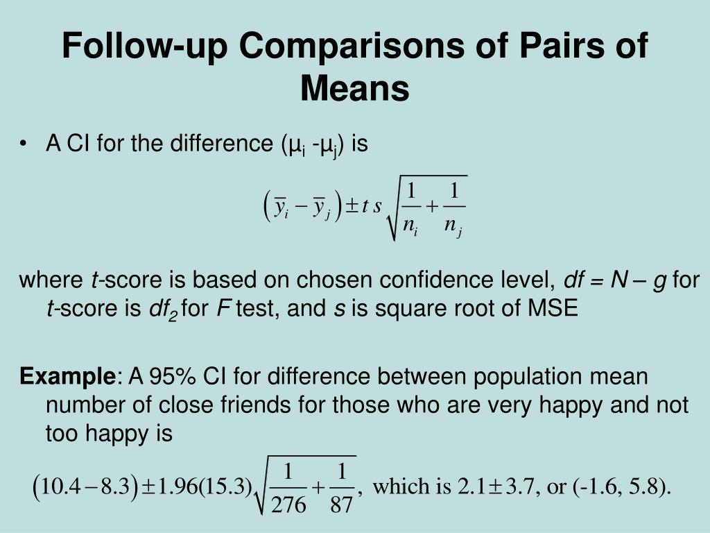 Follow-up Comparisons of Pairs of Means