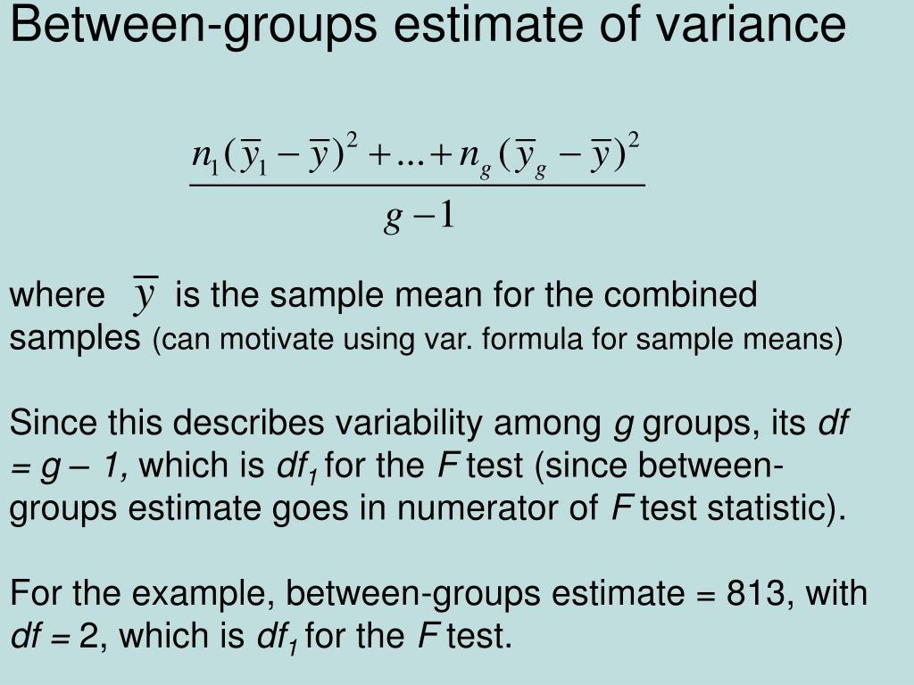 Between-groups estimate of variance