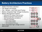 battery architecture practices