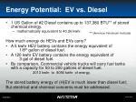 energy potential ev vs diesel