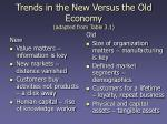 trends in the new versus the old economy adapted from table 3 1