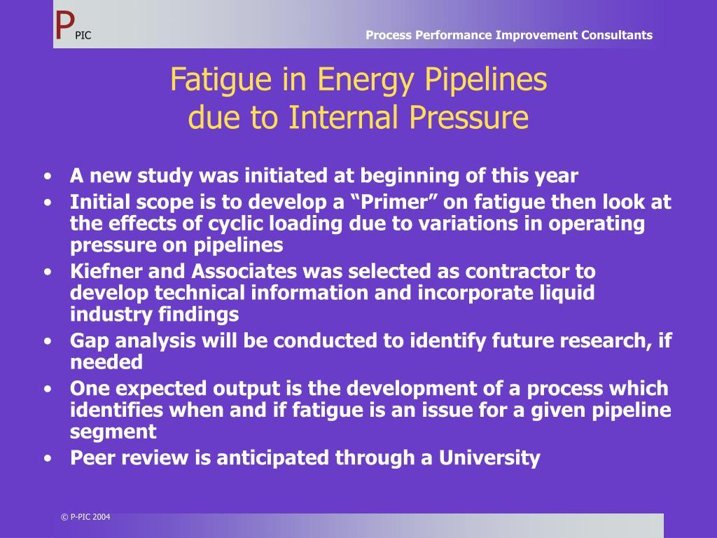 Fatigue in Energy Pipelines