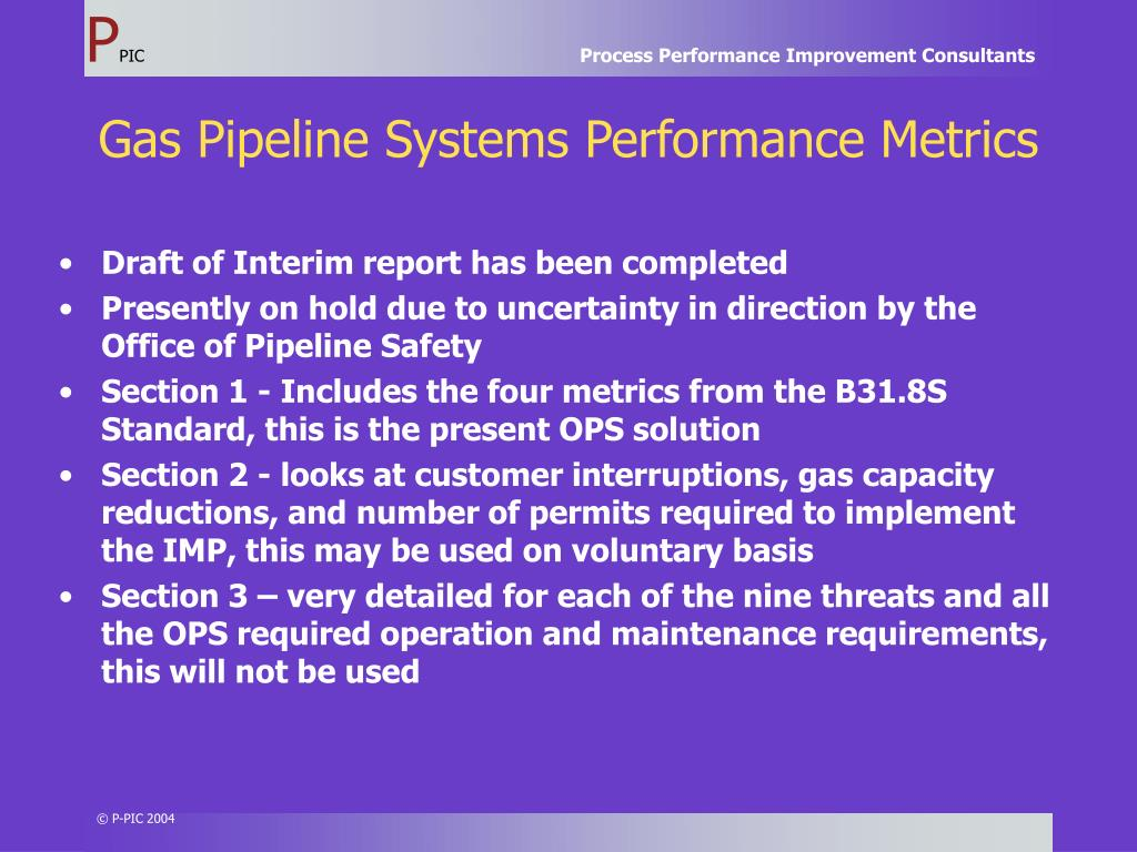 Gas Pipeline Systems Performance Metrics