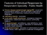 features of individual responses by respondent specialty public health