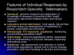 features of individual responses by respondent specialty veterinarians