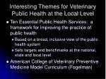interesting themes for veterinary public health at the local level