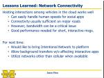 lessons learned network connectivity