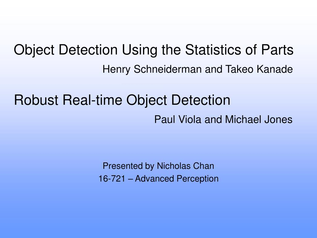 object detection using the statistics of parts l.