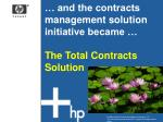 and the contracts management solution initiative became the total contracts solution