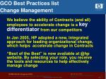 gco best practices list change management